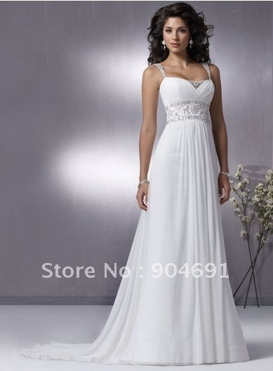 A line Bridal Dress Plus Size Beaded Thin Straps Beach Wedding Dress ...