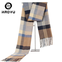 Scarf Men Plaid Cashmere Shawl Long Colorful Brand Winter Official Male Warm Neckerchief With Tassle 180cm
