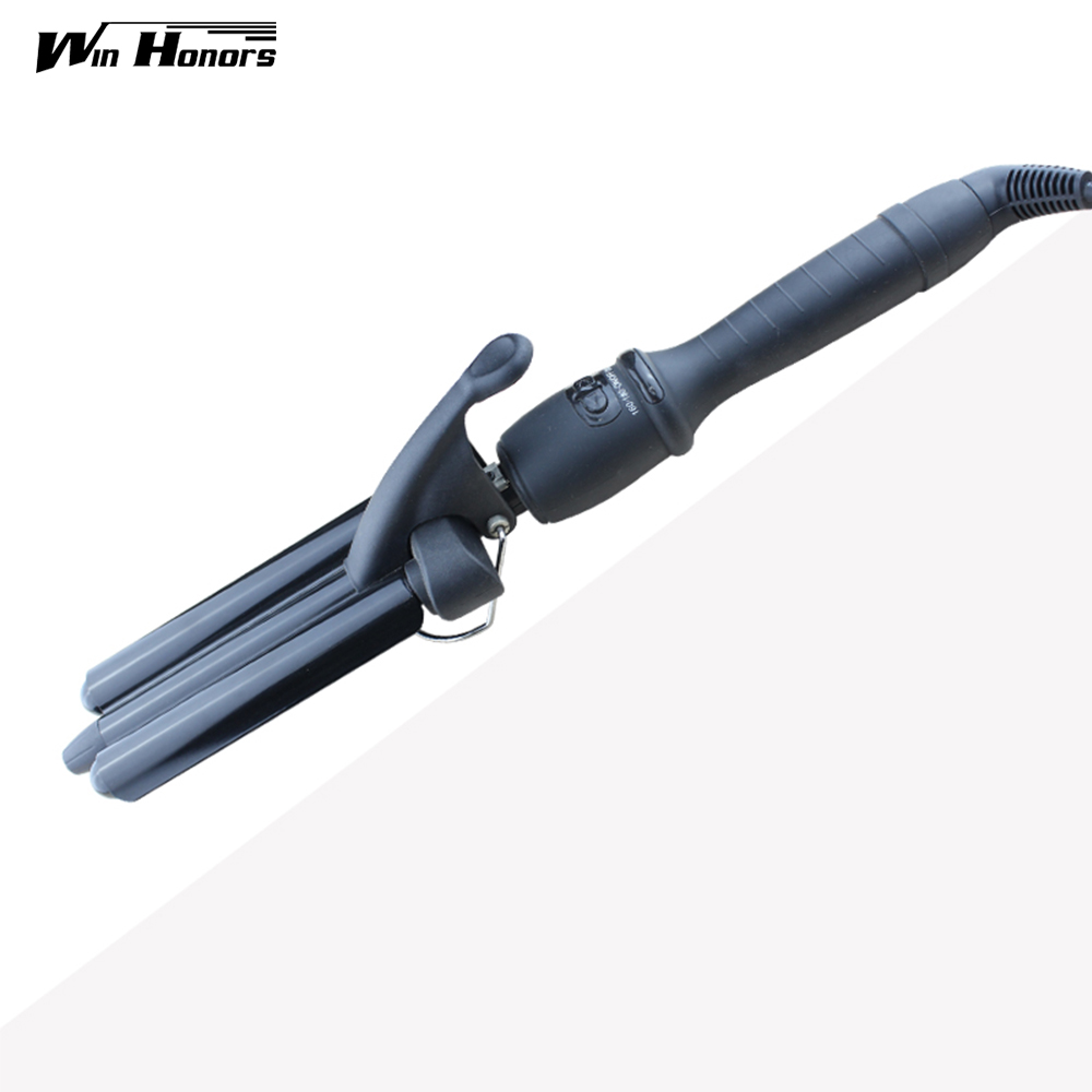 2016 Portable 3 Barrel Hair Curler Machine Ceramic Coating Wave Wand Curling Iron Led Display Hair Rod Tongs Styling Tools professional hair waver wave curler titanium ceramic hair curling iron 3 barrel clamp wave curler rollers styling tools