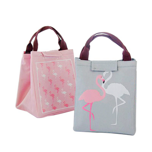 Image 3 - Junejour neoprene lunch bag For kids school Waterproof Lunch box Oxford Flamingo Portable  Lunch Bag Tote Handbag Food Container