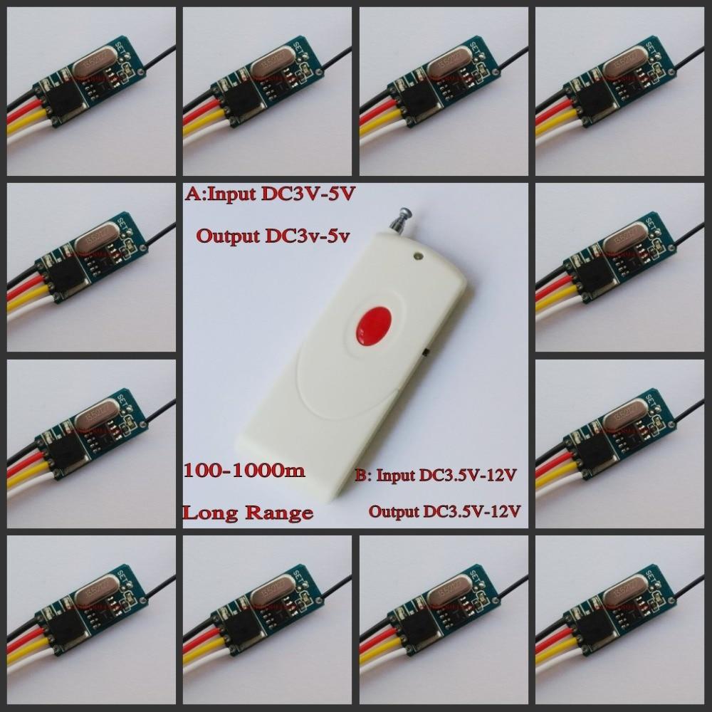 DIODO EMISSOR de Luz Da Lâmpada de Controle Remoto Micro Interruptor Mini Controlador de Iluminação Sem Fio DC 3 V 3.6 V 3.7 V 4.5 V 5 V 6 V 7.4 V 9 V 12 V RF TX RX