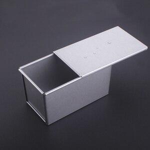 Image 2 - 250 グラム/450 グラム/750 グラム/900/1000/1200 グラムアルミ合金トーストボックスパン斤のパンケーキ型ベーキングツールと蓋
