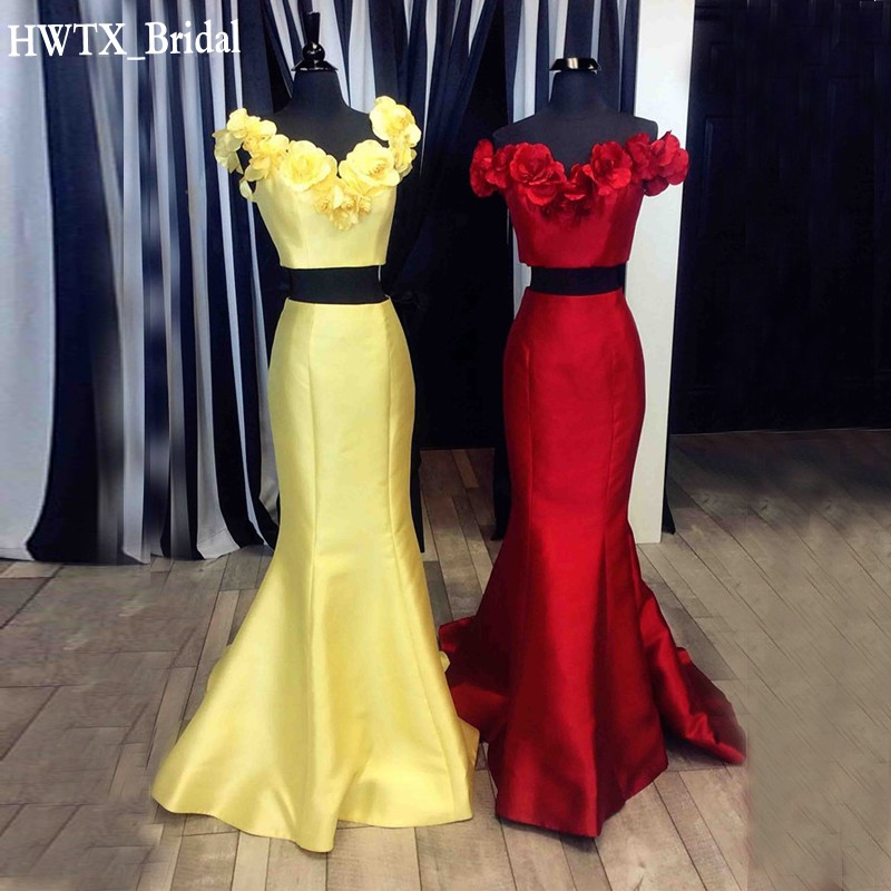 2018 New Two Pieces   Bridesmaid     Dresses   For Wedding Party Hand Made Flowers Long Mermaid Prom Party Formal Gowns Vestido de festa