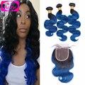 Free Shipping ombre brazilian hair with closure Body Wave Brazilian Virgin Hair 3 Bundles Hair Weaves Lace Closure T#1b/Blue