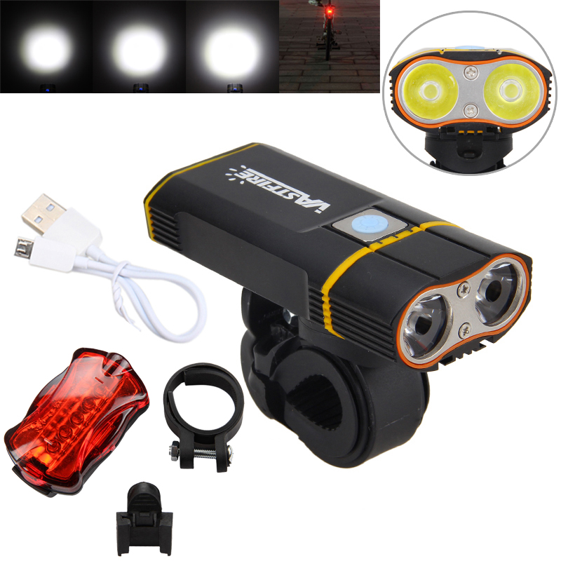 6000LM Rechargeable Handlebar Bike Light 2X XM-L2 LED Front Bicycle <font><b>Headlight</b></font> with Built-in 6000 mAh Battery +Mount +Taillight