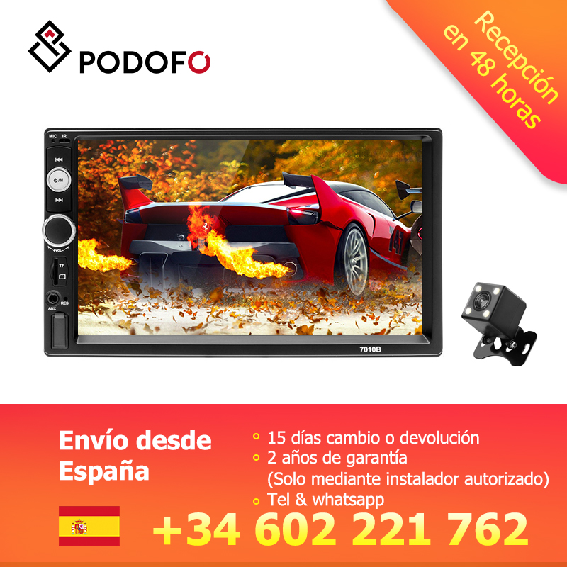 Podofo 2 din Car radio 7 Multimedia Player MP5 Touch Digital Display Bluetooth USB 2din Autoradio MP5 Stereo Backup Monitor