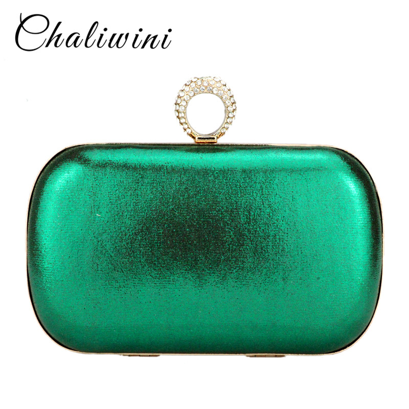 Chaliwini fashion dress stain solid day culthces gold red green mixed color diamond hasp women handbags lady wallet purse