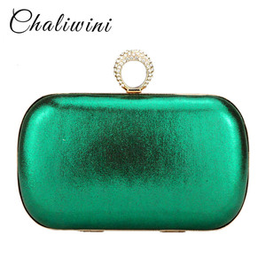 Chaliwini fashion dress stain solid day culthces gold red green mixed color diamond hasp women handbags lady wallet purse(China)