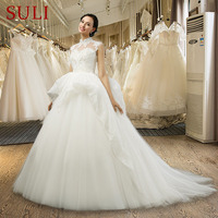 SL 040 Best Selling Princess Wedding Dress Applique Crystal Ivory Bride Dresses Two Layer Tulle Skirt