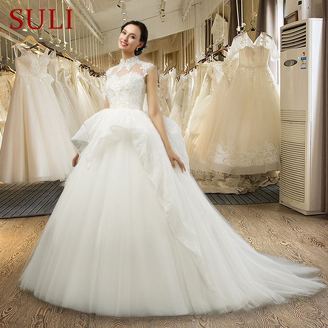 SL-040 Best Selling Princess Wedding Dress Applique Crystal Ivory Bride  Dresses Two Layer Tulle Skirt bb7e7d578490