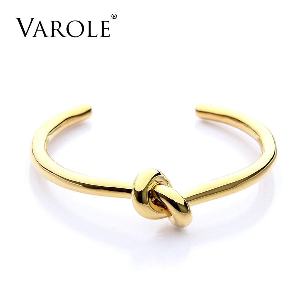 VAROLE Elegant Knot Copper Bracelets & Bangles Gold Color Open Bangle Gift Pulseiras Feminina Cuff Bracelets For Women sweet layered knot cuff ring for women