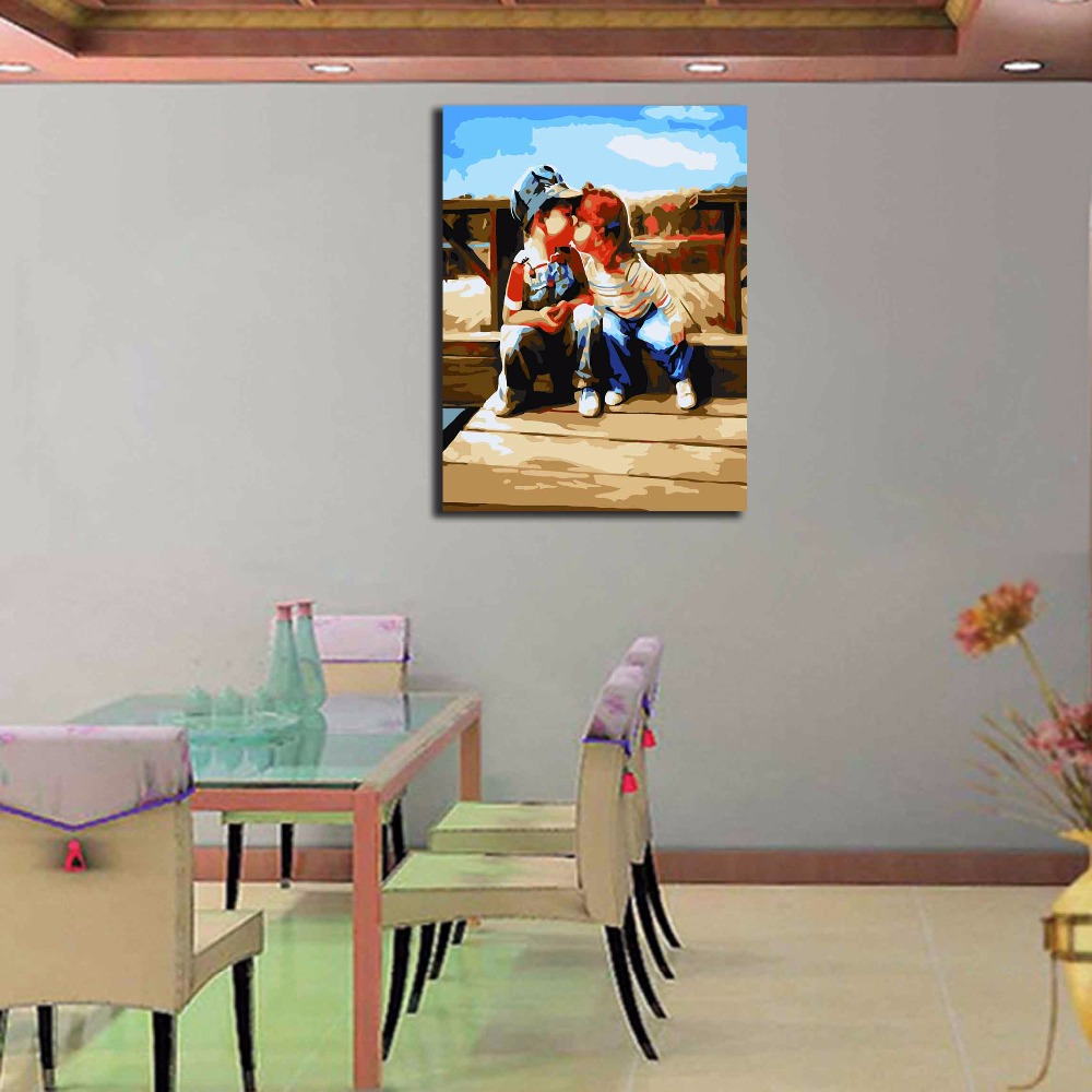 DIY Oil Painting Playful Kiss The Living Room Bedroom Decoration Home Furnishing Decorative Art Gift Beautiful