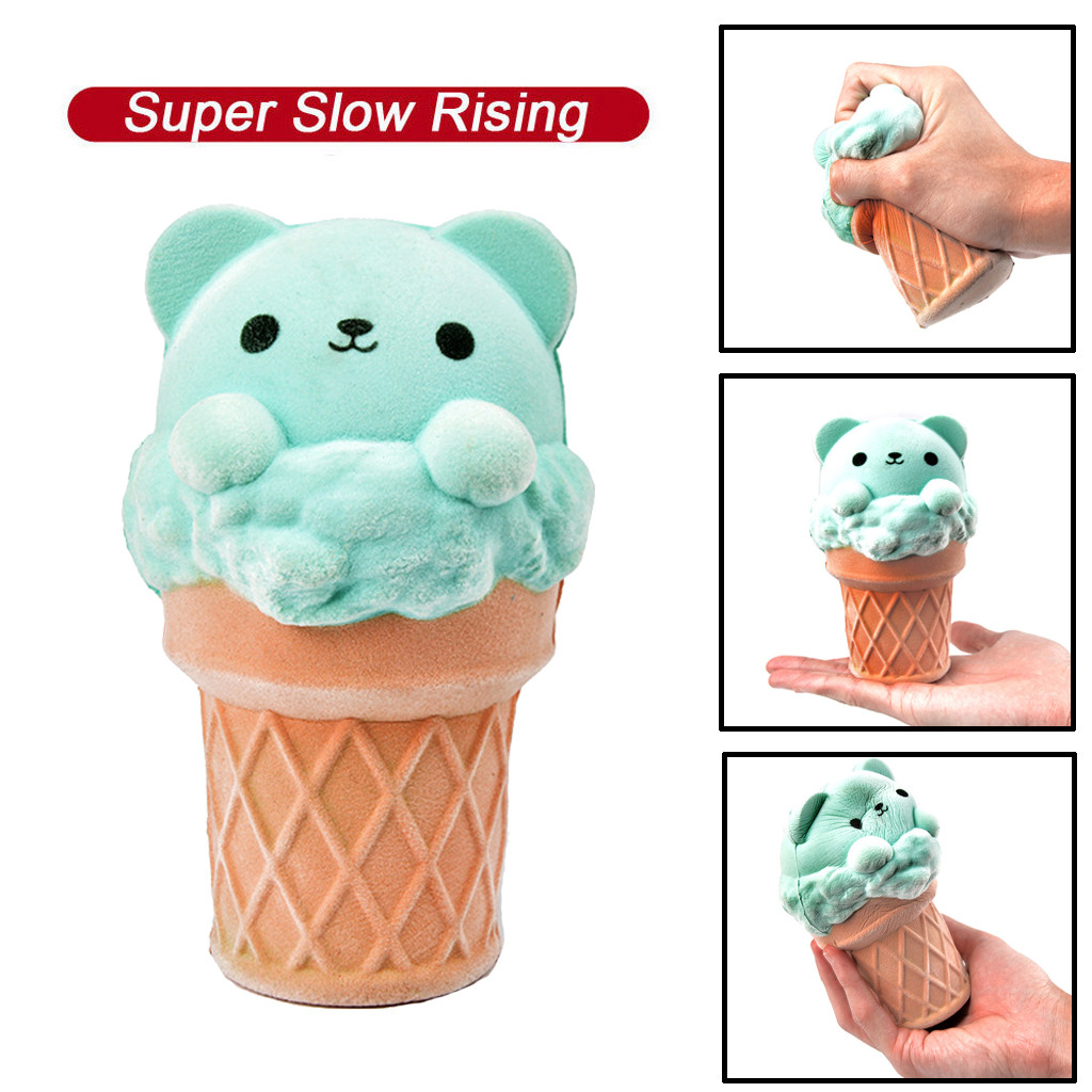 Adorable Squishy Mini Ice Cream Bear Slow Rising Squeeze Kawaii Kid Fun Toy Stress Reliever Decor Toys For Kid Gift K0315