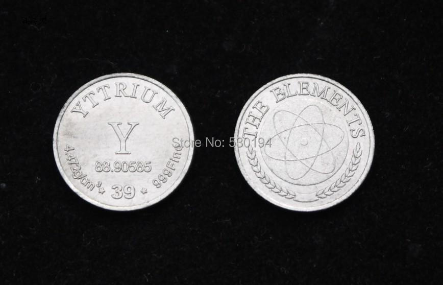 99.9% High Purity YTTRIUM Y Metal Carved Element Periodic Table Coin Shape yttrium metall 10g 99 9