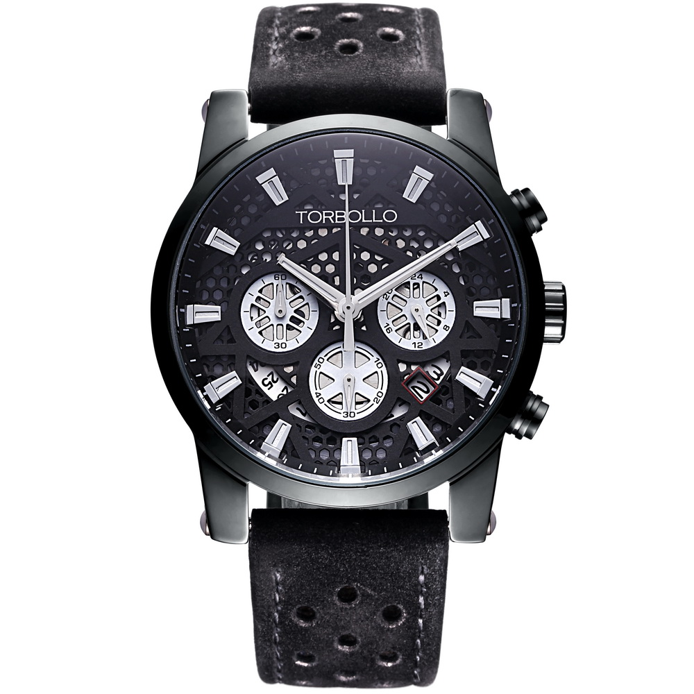 High Quality Original Brand Leather Dress Mens Watch Men Black Chronograph Clocks Water Resistant 12v time delay relay dh48s 2z 12v timer relay with socket