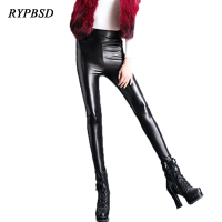Autumn Winter Black Soft Women High Waist PU Leather Leggings Pants Slim Casual Warm Velvet Leggings