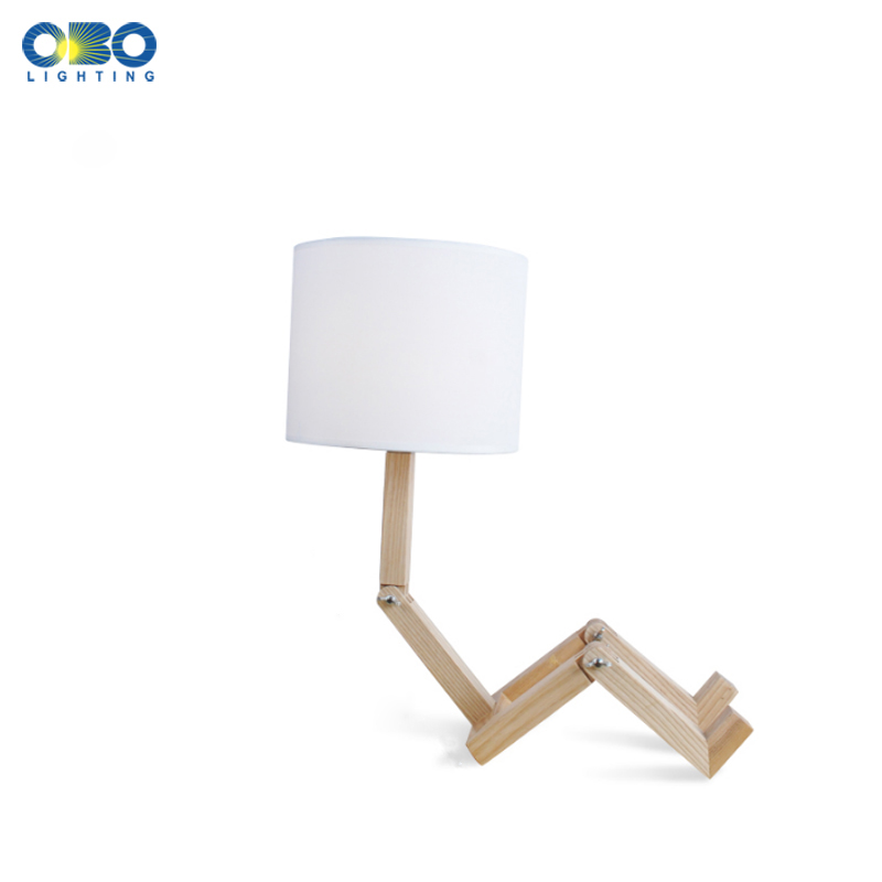 Wood Robot Shape Modern Decoration Table Lamp Study Desk Light Bedroom/Bedside Lighting E27 110-240V Free Shipping indoor brief solid oak wood textile desk lamp fabrics lampshade table light bedroom bedside warm lampara night light luminaria