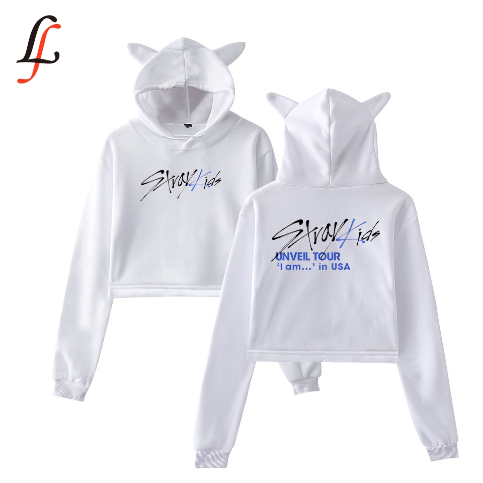 Stray kids straykids Cat Ear <font><b>Cap</b></font> <font><b>Sexy</b></font> Hoodies fashion trend sala Cat Crop Top Women Hoodies Sweatshirt <font><b>Sexy</b></font> hot Kpop Size 2XL image