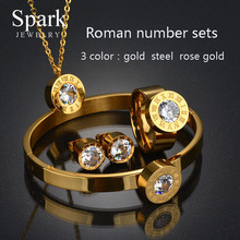 Top Quality 316l Stainless Steel Bridal Jewelry Sets Rose Gold 4 Colors CZ Stone Wedding Set For Valentines Day Gifts