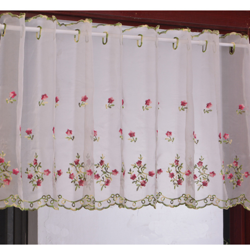 Embroidered Floral Short Curtains For Kitchen Valance
