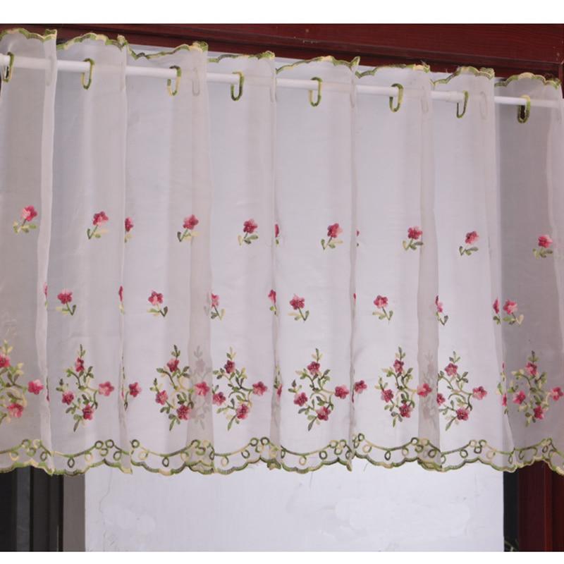 Embroidered Floral Short Curtains For Kitchen Valance Pelmet Voile Curtains For Living Room Bedroom Door Window Blinds Gordijnen