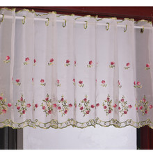 Embroidered Floral Short Curtains For Kitchen high 43cm Valance Pelmet Voile Curtains for Living Room Bedroom Door Window Blinds(China)