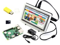 Raspberry Pi 3 Модель B + Development Kit тип F Включает 7 дюймов HDMI ЖК дисплей (C) биколор случае 16 ГБ Micro SD карты Адаптеры питания