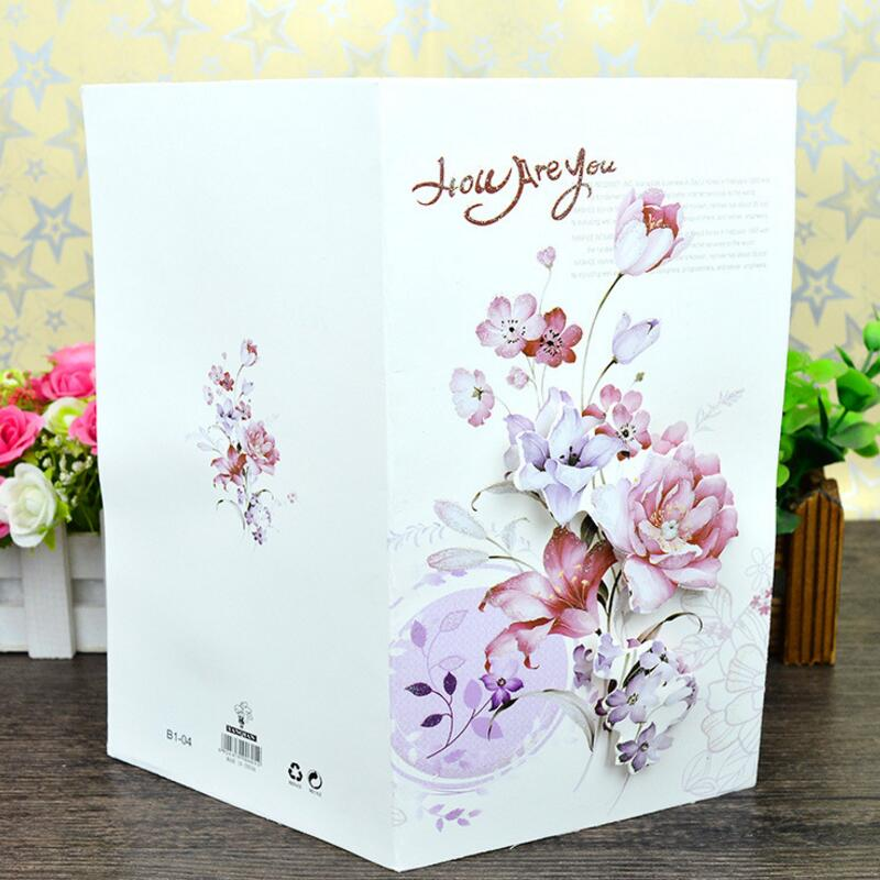 8 Pcs Lot Flower Print Kids Birthday Gift Card Message Greeting Postcards Pastoral Style Thanksgiving Universal In Cards Invitations From Home