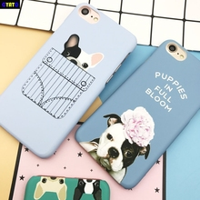 Cyato Cute Cartoon Animal Cat Dog Bulldog Case For iPhone 6 6S Plus 7 8 5S X Plastic Matte Cover