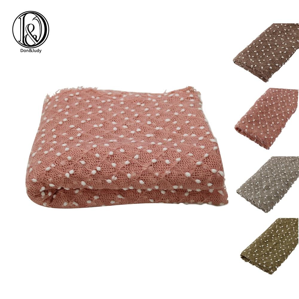 D&J 75*50cm Knit Stretch Wraps Mini Bobble Blanket Stretch Nubble Wraps Newborn Baby Photography Props Basket Filler Accessories