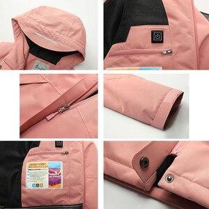 Image 5 - Veste dhiver en coton épais pour homme et femme, manteau imperméable pour lextérieur, chauffage USB, coupe vent, randonnée, Camping, escalade, ski