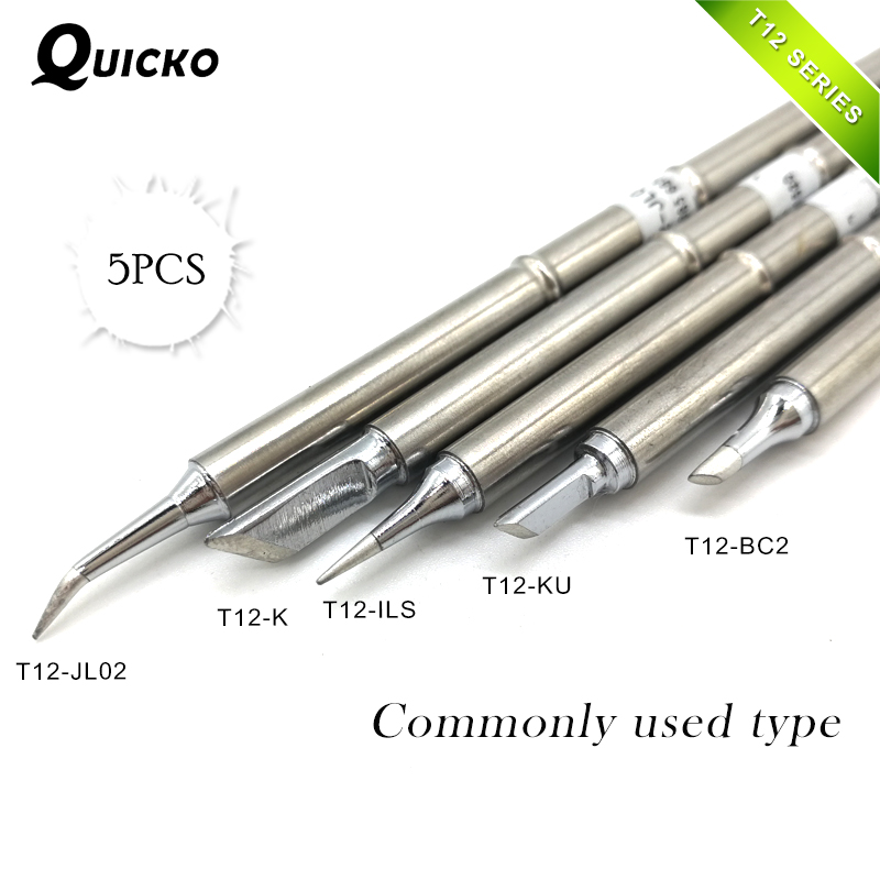 5Pcs/SET T12-ILS T12-JL02 T12-KU T12-K T12-BC2 Solder Iron Tips T12 series Welding head commonly used