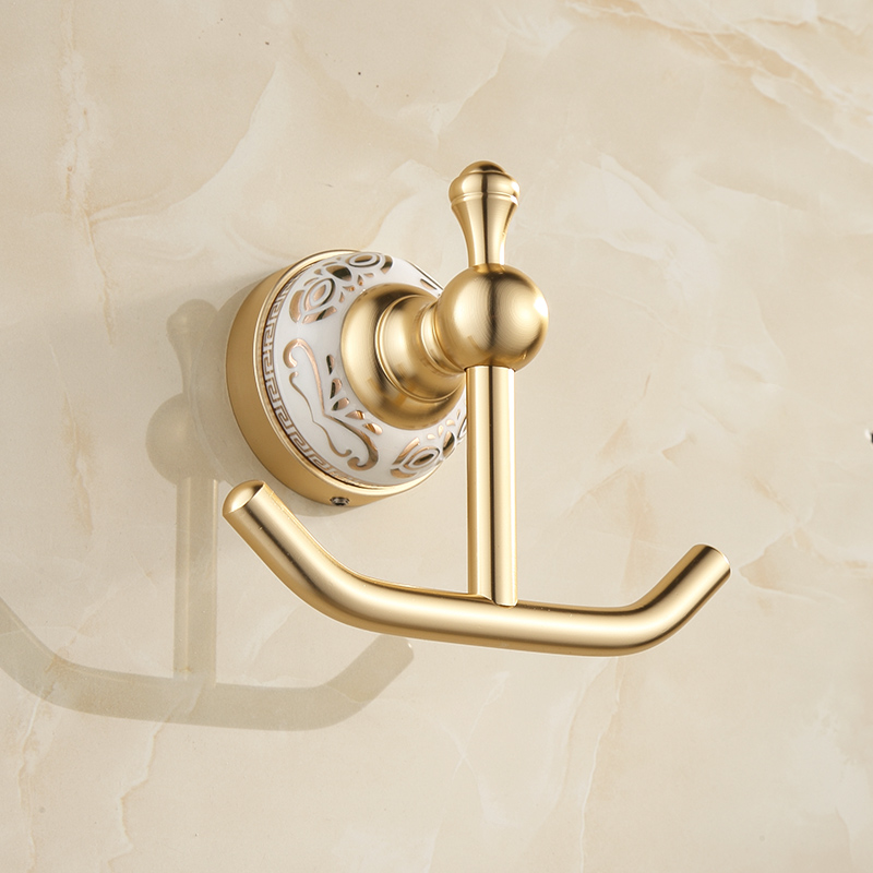 FLG Shipping Robe Hook Cloth Hook Golden Space Aluminum Hook Coat Hook Decorative Wall Hanger Bathroom Accessrie in Robe Hooks from Home Improvement