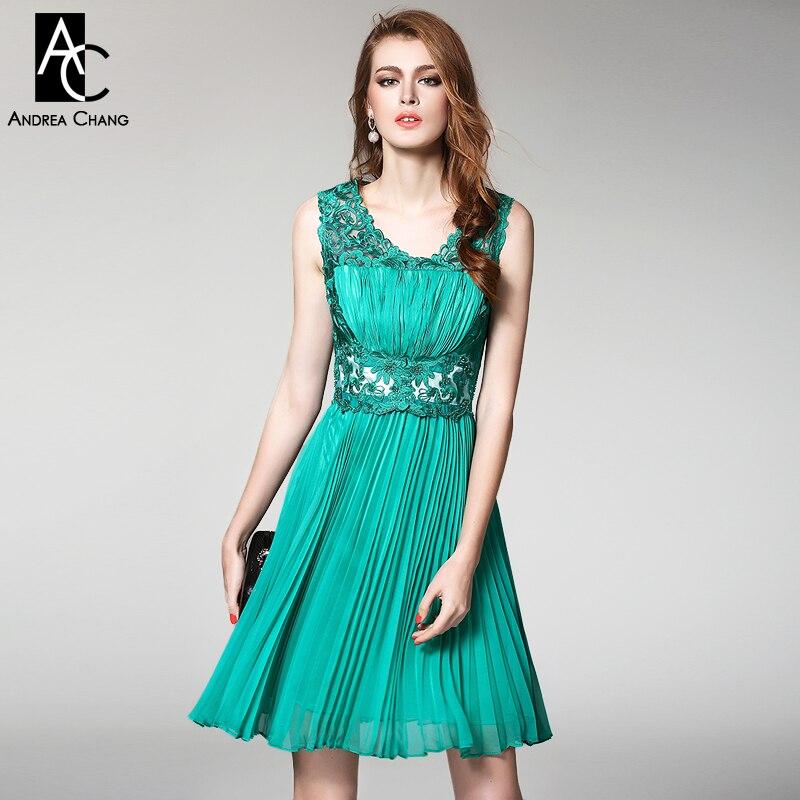 b0dc9738cd Wiosna lato runway projektant sukienki damskie wysokiej jakości zdarzenia  dress zielony niebieski czerwony haft top plisowane