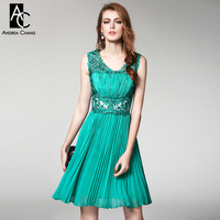 Spring Summer Runway Designer Womens Dresses High Quality Event Dress Green Blue Red Embroidery Top Pleated
