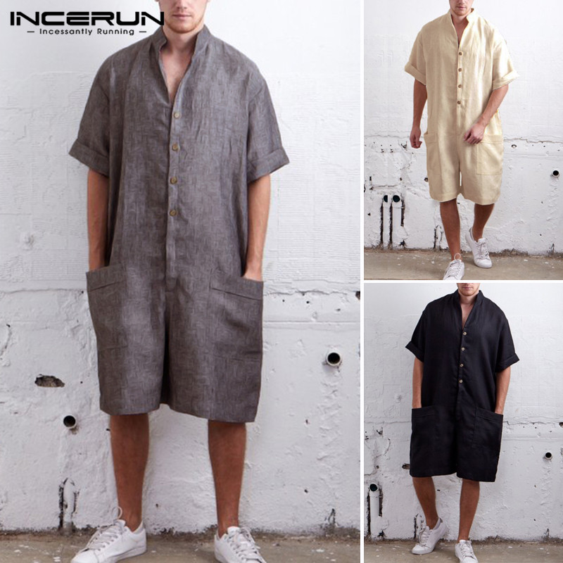 INCERUN Summer Loose Men Rompers Cotton Half Sleeve Button Pants Vintage Casual Solid Men Cargo Overalls Jumpsuit Trousers Men