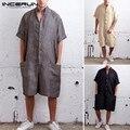 INCERUN летние свободные мужские комбинезоны, хлопковые с полурукавами, брюки на пуговицах, винтажные повседневные однотонные мужские комбине...