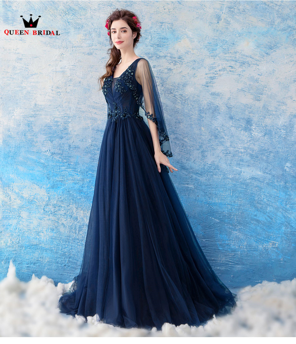 2018 New Fasion A line Blue Color Lace Beading Elegant Prom Dresses ...