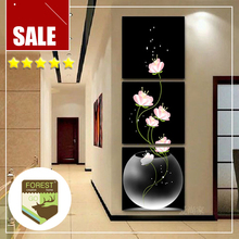 Modern art picture painting decor series back light pink transparent vase still life feature flower oil painting prints decor