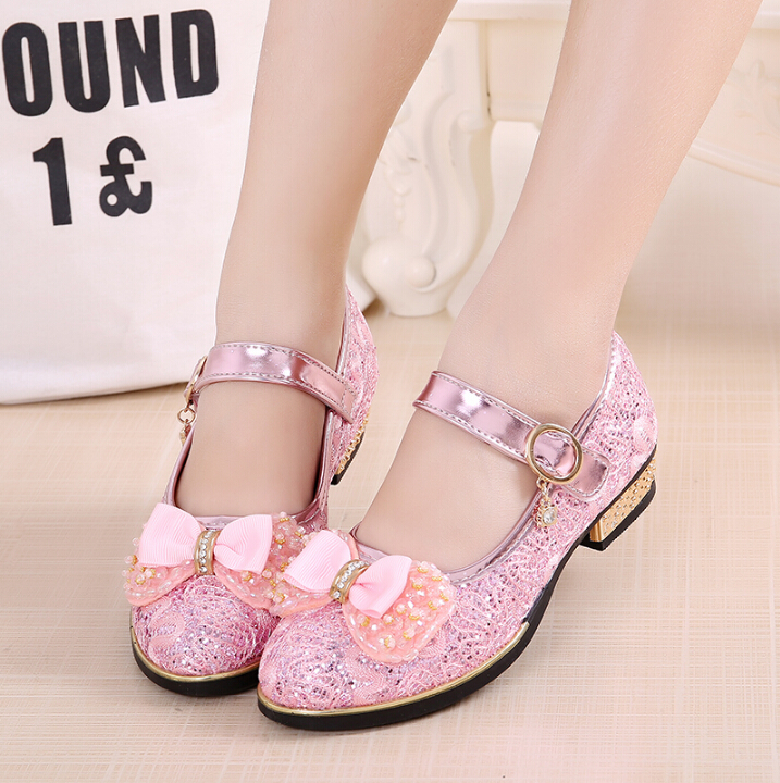 Apring Autumn 2017 new Girls Shoes Gold Silver Princess Shoes Little Girl High-heeled Dance Show Shoes, Childrens Shoes
