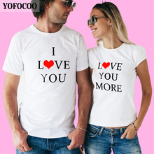 YOFOCOO I Love You And Love You More For Couples Fashion T-Shirts Customized Print T Shirt for Lovers O-Neck Short Sleeve Tshirt t shirt chicco size 086 flower i love you pink