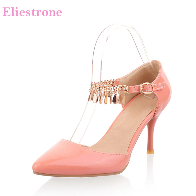 bd8b3c729a154 Brand New Elegant Gold Yellow Women Office Sandals Apricot Fashion Chain  High Heel Lady Party Shoes KS43 Plus Big Size 10 30 46