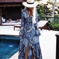 Estilo bohemio largo maxi boho dress de manga larga de impresión de las mujeres dress venta caliente delgada larga azul vestidos de fiesta piso-longitud dress