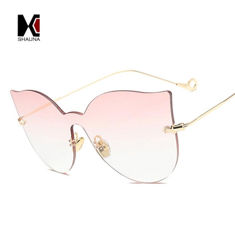 SHAUNA Fashion Rimless Women Cat Eye Sunglasses Classic Ladies Integrated Reflective Lens Shades UV400