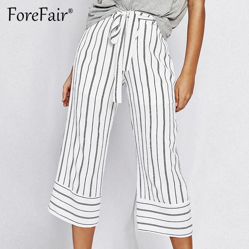 Forefair Elegant White Striped Calf-Length Pants Women Trousers Summer Self Belted Zipper Fly High Waist Wide Leg Pants