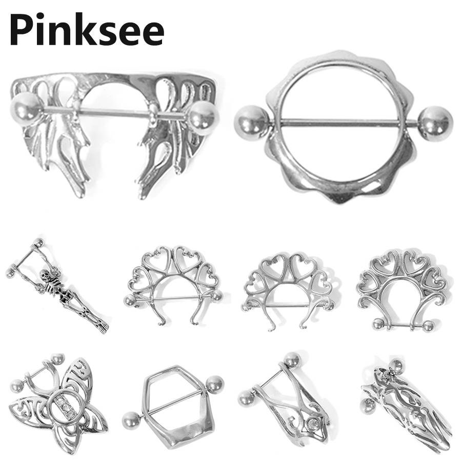 2 Paires Angel Wing crâne Nipple Shield Cover Rings Body Jewelry Piercing Bar