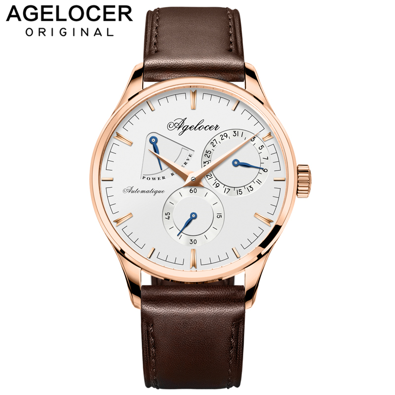 Swiss Design Army Watch Agelocer Mens Watches Automatic Mechanical Power Reserve 42 Hours display role seconds dial Watch MenSwiss Design Army Watch Agelocer Mens Watches Automatic Mechanical Power Reserve 42 Hours display role seconds dial Watch Men