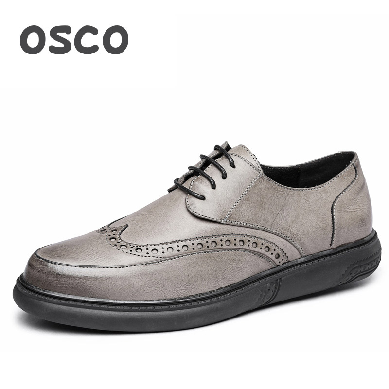 OSCO 2018 New Summer Bullock Carved Genuine Leather Men Shoes British Wild Round Toe Casual Shoes Trend Lace-Up Shoes Men