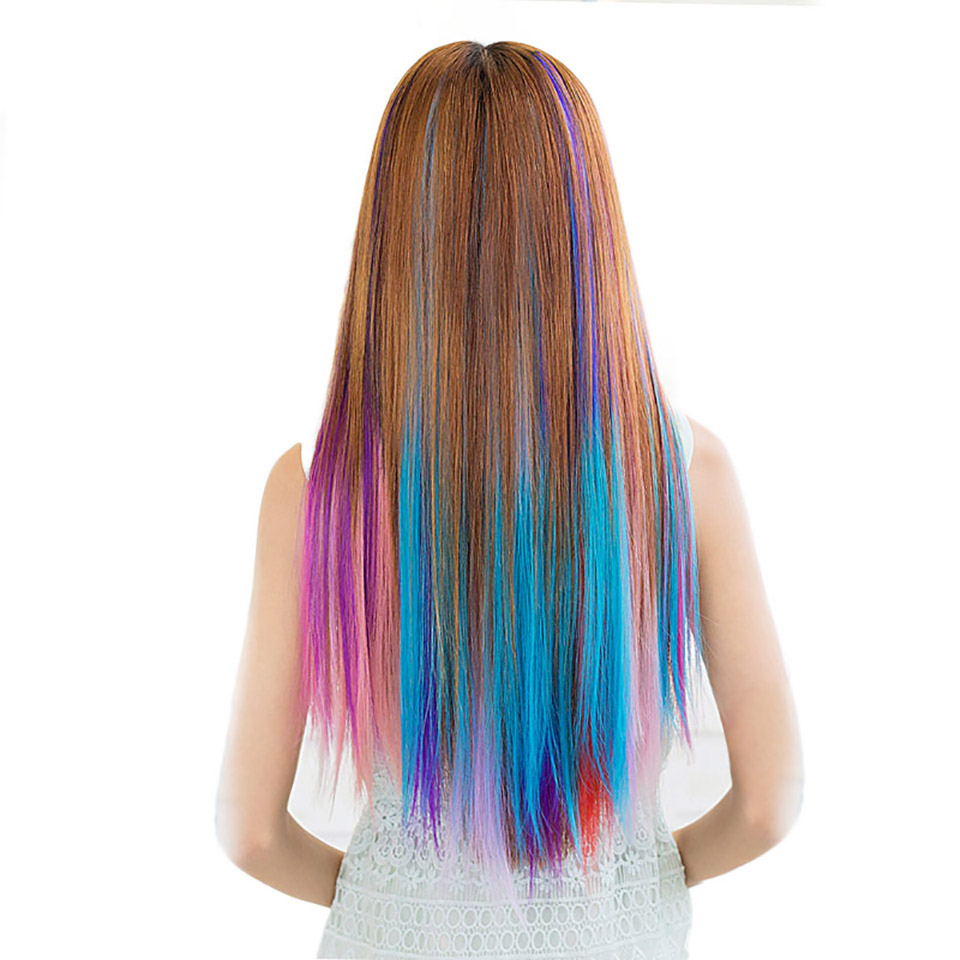 JINKAILI WIG Long Straight Women Clip in Hair Extension Synthetic For Women Pieces Colorful Cosplay Wig