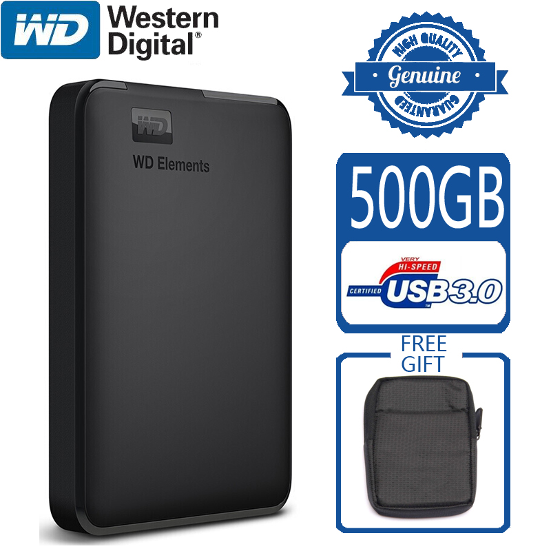 WD Elements 500GB Portable External Hard Drive Disk USB 3.0 HD HDD Capacity SATA Storage Device Original for Computer PC PS4 TV